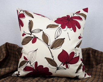 Red Floral Pillow, Brown Floral Pillow, 20 x 20 Inch Handmade Pillow Cover, Cotton Pillow, Modern Throw Pillow, Toss Pillow, Accent Pillow