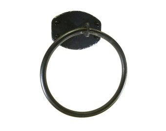 Hand Forged Round Bar Towel Ring