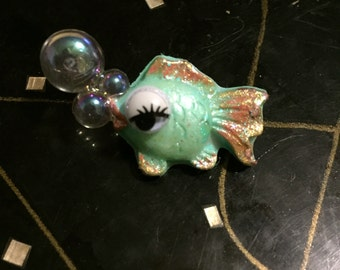 Mint sparkle chalkware inspired fish brooch