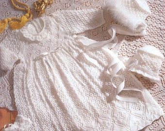 Vintage Knit Baby Christening Robe Shawl bonnet bootees instant download knitting pattern
