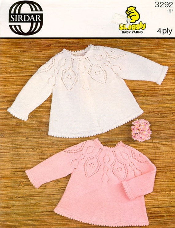 Free Knitting Pattern For Angel Top : Vintage Knit Baby Matinee Coat and Angel Top instant download