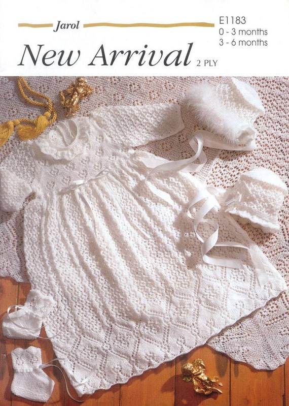 Kimono Shawl Knitting Pattern : Vintage Knit Baby Christening Robe Shawl bonnet bootees instant download knit...