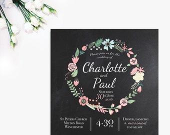 Floral Chalkboard 'Charlotte' Wedding Invitation & RSVP (sample), Wedding invites, Save the date, Flowers