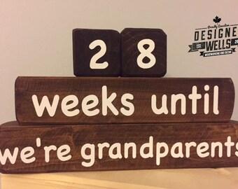Grandparent Countdown Blocks - Wood Stain