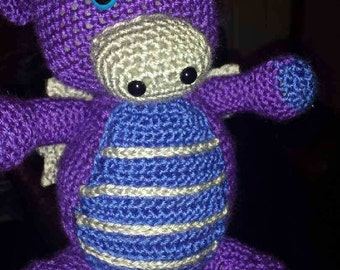 Hand-made Crocheted Purple and Blue  Dragon
