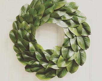 """Magnolia Wreath, Magnolia Leaf Wreath, Farmhouse Wreath, Fixer Upper Wreath, 23"""", 21"""", 18"""" or 14"""" Magnolia Wreath"""