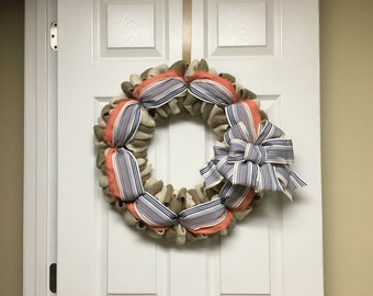 Coral and Navy Burlap Wreath, Year Round Wreath