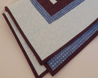 Handmade Baby Quilt or Baby Blanket, Modern Design with Light Blue and Brown Downton Abbey Fabric, Perfect for Baby Boy or Baby Girl