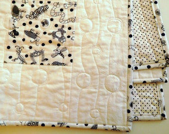 Black and White Baby Quilt, One of a Kind Handmade Quilt, Simple Blocks with Very Cute Bugs and Insects, Black/White Polka Dots
