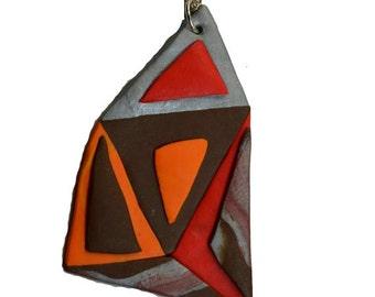 Geometric necklace, Orange Pendant, Geometric Pendant, Abstract Necklace, Gift For Her, Geometric Jewelry, Retro Pendant, Christmas Gift