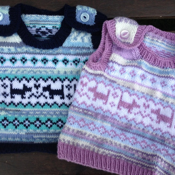 Baby Knitting Pattern - Puppy Love Fair Isle Baby Vest ...