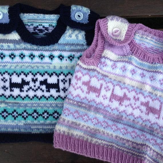 Baby Knitting Pattern Puppy Love Fair Isle Baby