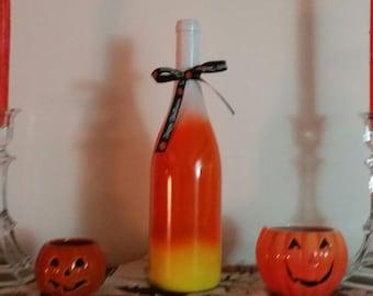 Candy corn wine bottle