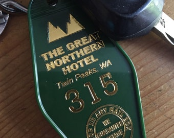 """On Sale! Twin Peaks  Inspired """"GREAT NORTHERN HOTEL keychain - Green with Gold Lettering"""