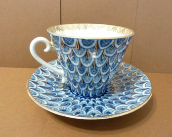 Cup & Saucer, Made in Russia, Beautiful Cobalt Blue, Gold, White