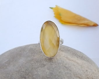 Orange Chalcedony Ring, Yellow Orange Chalcedony Gemstone 925 silver Ring Size 8