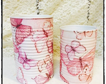Set of 2. Pink butterflies decorative pencil holders/dorm decor/brush holders/desk accessories/office organization/classroom decor