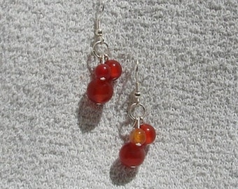 Carnelian Three Drop Earrings