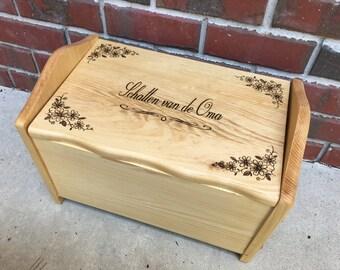 Keepsake box, hope chest, woodburned, gift, wedding, toy box