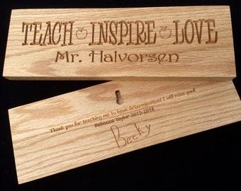 Personalized Oak Teacher Appreciation Gift Plaque/Sign