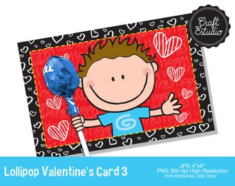 Lollipop Valentines Card, Valentine, love, heart, card, High Resolution, Valentines Card, Heart, paddle card, Love, heart