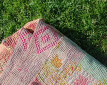 MAHARANI - Magic carpet queen KANTHA quilt THROW / handmade reversible Indian bedding / vtg bohemian picnic blanket
