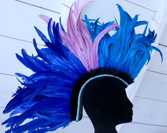 Blue and pink feather mohawk with black faux fur