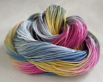 """Hand dyed cotton thread, HDT, Size 10, 15, 20, 40, 50, 70, multycolor,HDT, tatting, crochet, knitting, lacemaking,craft thread, """"Wildflower"""""""