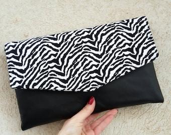 Zebra clutch bag, envelope clutch, black and white, summer clutch, evening clutch bag