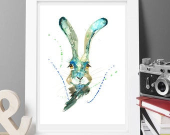 Buy 2 get 1 free Hare bunny Contemporary Watercolour ART PRINT Original  Signed Watercolour  300 gsm Paper Free Shipping To United Kingdom