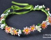 Bridal flower crown Orange Flower White Daisy crown Wedding hair accessory Girl flower crown Flower crown Boho flower crown Hair wreath LV12