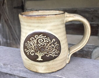 Tree of Life pottery mug, wheel thrown stoneware clay