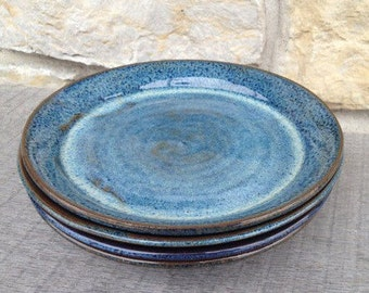 Blue Pottery Salad Plate. Wheel Thrown, Stoneware Pottery