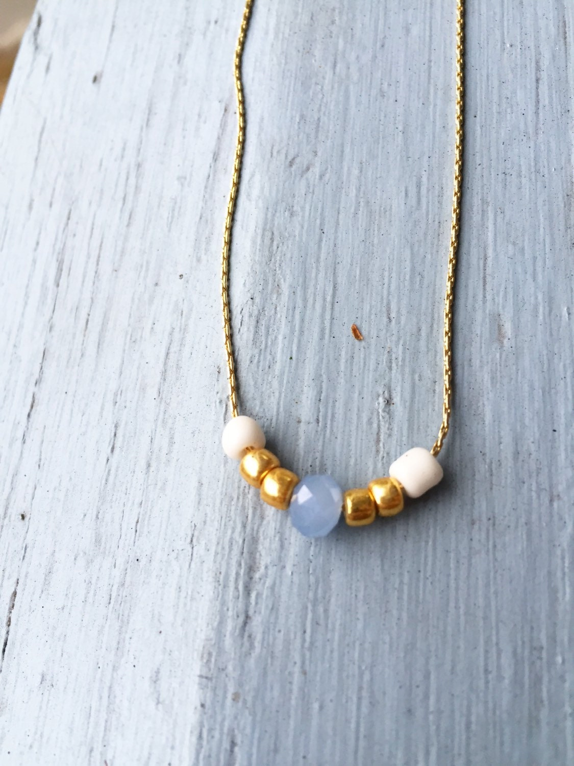 delicate beaded choker necklace on thin gold by designsbyilla