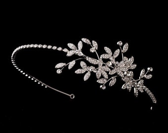 Rhinestone leaf headband, Silver leaf headband, Bridal Headpiece, Bridal Headband, Wedding Headpiece, Wedding Headband, Hair Accessories