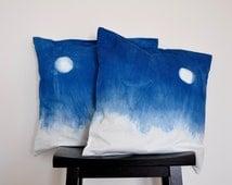 Indigo dyed Cotton Pillow Cover - indigo dyed , Cushion Cover,Handmade Pillowcase ,Indigo Pillow