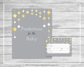 Twinkle Little Star Baby Shower Predictions for Baby - Printable Baby Shower Predictions for Baby - Twinkle Little Star Baby Shower - SP117