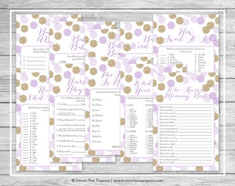 Purple and Gold Baby Shower Games - 10 Printable Baby Shower Games - Purple and Gold Glitter Baby Shower - Baby Shower Games Package - SP109