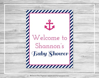 Nautical Baby Shower Welcome Sign - Printable Baby Shower Welcome Sign - Navy Pink Baby Shower - Baby Shower Welcome Sign - EDITABLE - SP119