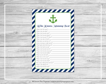 Nautical Baby Shower Who Knows Mommy Best Game - Printable Baby Shower Who Knows Mommy Best Game - Navy Green Baby Shower - SP120
