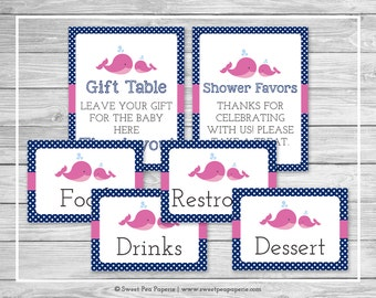 Whale Baby Shower Table Signs - Printable Baby Shower Table Signs - Pink Whale Baby Shower - Baby Shower Signs - EDITABLE - SP128