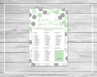 Mint and Silver Baby Shower What's In Your Purse Game - Printable Baby Shower What's In Your Purse - Mint and Silver Baby Shower - SP125