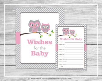 Owl Baby Shower Wishes for Baby Cards - Printable Baby Shower Wishes for Baby Cards - Pink Owl Baby Shower - Baby Wishes - Owl Shower- SP134