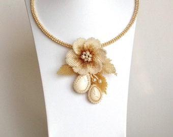 Ivory necklace Beaded flower pendant Flower necklace Elegant necklace Romantic necklace For her Ivory cabochon