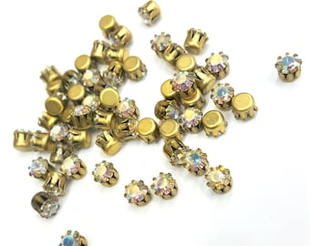 24 Pieces Crystal AB Swarovski Pre - Set Stones, #608, Set in Raw Brass Tiffany Style Settings, Vintage, 19ss (5mm) Round