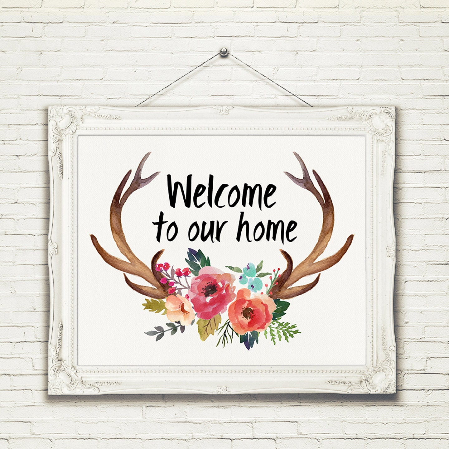 Welcome To Our Home: A-317 Welcome To Our Home Antler Welcome Print Sign Wall