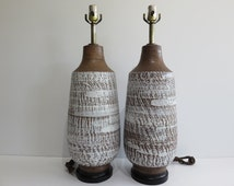 Pair Of Bitossi Pottery Mid-Century Modern Lamps, Made In Italy.
