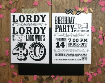 40th Birthday invitations, Lordy Lordy look who's 40, Surprise Birthday Invite, Funny 40th birthday, 40th Birthday invite for man