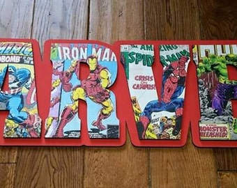 Captain America, Thor, Iron Man, Spider man, The Hulk, Marvel Letters