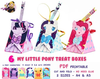 My Little Pony Treat Box, My Little Pony party, Pony birthday, birthday favors, Pinkie Pie, favor box, bags, Party printables,party supplies